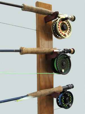 Custom built rod racks from new hamphire solid cherry for Fishing rod car rack