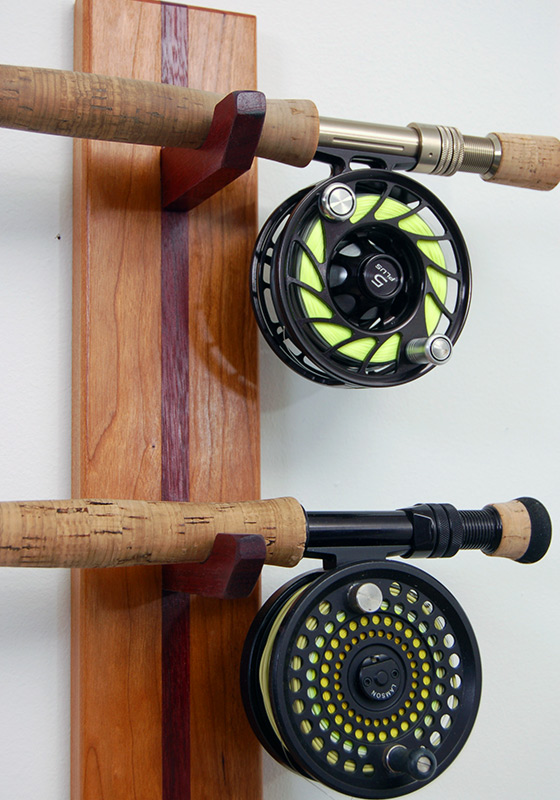 Custom built rod racks from new hamphire solid cherry for Wall fishing rod holder