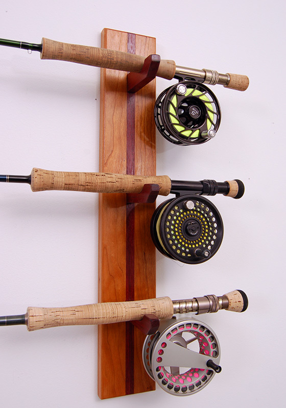 Custom built rod racks from new hamphire solid cherry for Wooden fishing pole holder